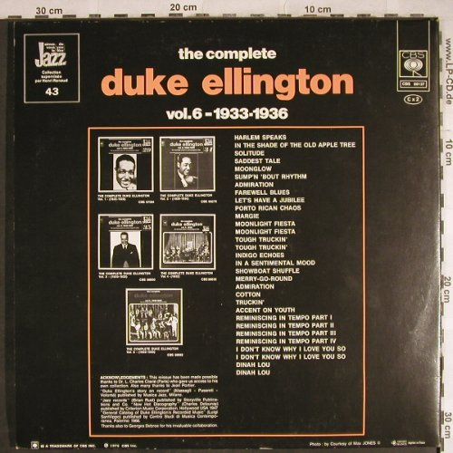 Ellington,Duke: The Complete Vol. 6, 1933-36, Foc, CBS(CBS 88137), F, 1975 - 2LP - H7911 - 7,50 Euro