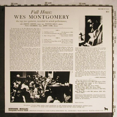 Montgomery,Wes: Full House, live Tsubo Berkeley,CA, Riverside(OJC-106), D, Ri,  - LP - H8994 - 9,00 Euro