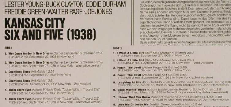 Kansas City Six and Five: 1938-Lester Young,B.Clayton.., Commodore(6.24057 AG), D,vg+/vg+, 1979 - LP - H995 - 5,00 Euro