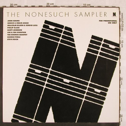 V.A.The Nonesuch Sampler: 9 Tr., Promo,Reich,Glass..., Nonesuch(PRO 438), D,m-/vg+, 1986 - LP - X122 - 6,00 Euro