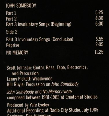 Johnson,Scott: John Somebody, m-/vg+, Nonesuch(979 133-1), D, 1986 - LP - X1332 - 5,00 Euro