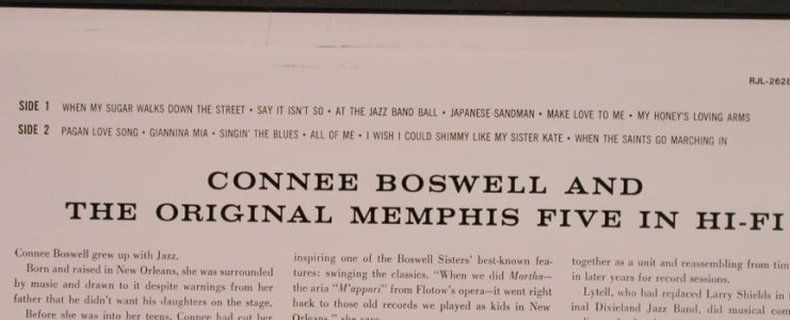 Boswell,Connie & Orign.Memphis Five: in Hifi, RCA(RJL-2628(M)), J, 1983 - LP - X273 - 7,50 Euro