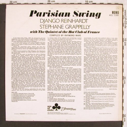 Reinhard,Django & St.Grappelli: Parisian Swing, Ace of Clubs(ACL 1189), UK, Mono,  - LP - X3238 - 7,50 Euro