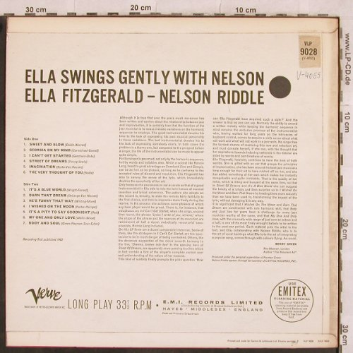 Fitzgerald,Ella: Ella Swings Gently with Nelson, Verve-Only Cover(VLP 9028), UK,vg+,  - Cover - X381 - 3,00 Euro