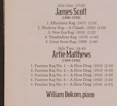 Bolcom,William: Pastimes & Piano Rags/Scott,Matthew, Nonesuch(H-71299), US, 1974 - LP - X3994 - 5,50 Euro