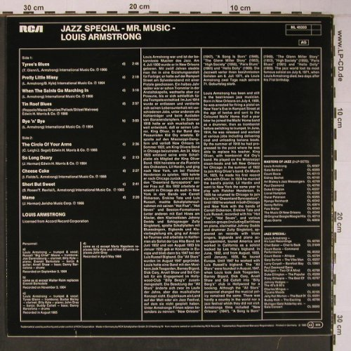 Armstrong,Louis: Mr.Music-Jazz Special, RCA,Musterplatte(NL 45333), D, 1983 - LP - X6511 - 12,50 Euro