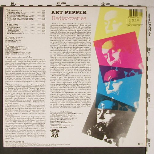 Pepper,Art: Rediscoveries, Savoy(WL70828), D,like new, 1986 - LP - X6579 - 25,00 Euro
