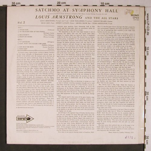 Armstrong,Louis: Satchmo At Symphony Hall,Vol.2,1951, Coral(CP49), UK,Mono,Ri, 1970 - LP - X6765 - 9,00 Euro