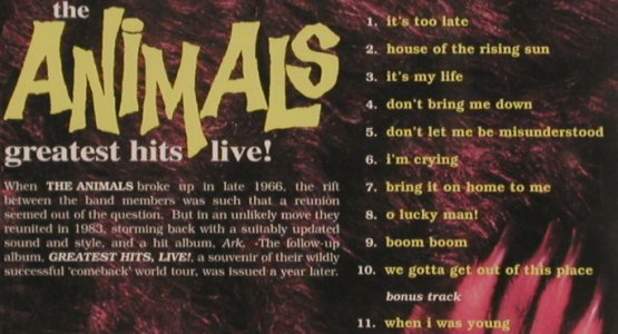 Animals: Greatest Hits Live!, Castle(), UK, 2004 - CD - 82209 - 10,00 Euro