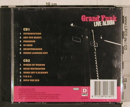 Grand Funk: Live Album (1970), Disky(MP 901781), EU, 2004 - 2CD - 82264 - 10,00 Euro