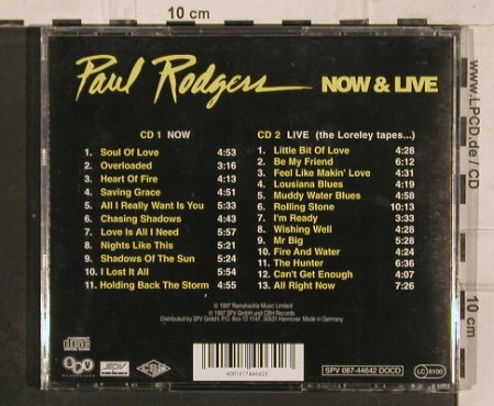 Rodgers,Paul: Now & Live,Lim.Ed., SPV(), D, 1997 - 2CD - 82304 - 10,00 Euro