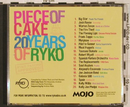 V.A.Piece Of Cake: 20 Years of Ryko, 20 Tr., Mojo(), US, 2003 - CD - 83486 - 10,00 Euro