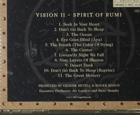 Vision: Spirit of Rumi, Angel(5 56373 2), NL, 1997 - CD - 84133 - 7,50 Euro