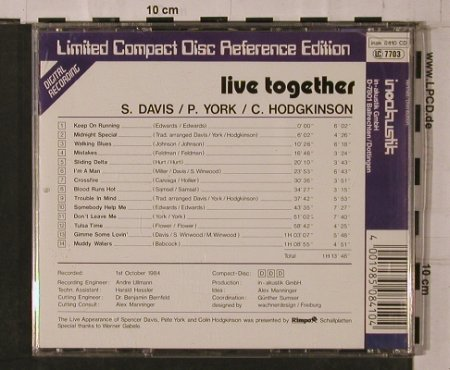 Davis,Spencer/PeteYork/C.Hodgkinson: Live Together, vg+/m-, Inak(8410 CD), D, 1984 - CD - 84287 - 10,00 Euro