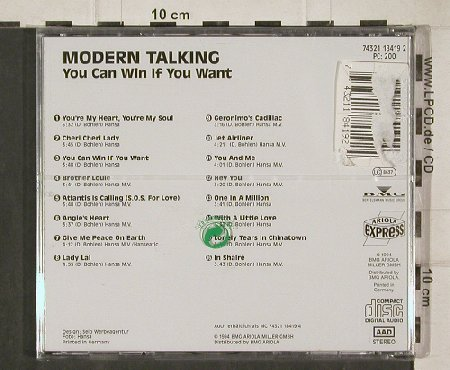 Modern Talking: You Can Win If You Want, FS-New, Ariola(), D, 94 - CD - 90778 - 10,00 Euro