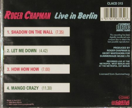 Chapman,Roger: Live In Berlin(89), 4 Tr., FS-New, Castle(CLACD 313), EEC, 92 - CD - 90926 - 9,00 Euro