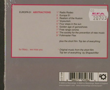 Europa 51 (StereoLab/High Llamas): Abstractions,Digi, FS-New, Lo Rec.(LCD 038), UK, 2003 - CD - 91859 - 10,00 Euro