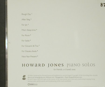 Jones,Howard: Piano Solos(for friend & Love ones), dtox rec.(CD12), UK,vg+/m-, 2003 - CD - 92426 - 10,00 Euro