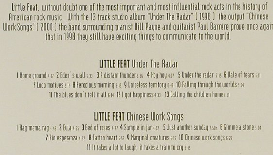 Little Feat: Under The Radar/Chinese Work Song, CMC/SPV(), D,BoxSet, 1998 - 2CD - 94186 - 12,50 Euro