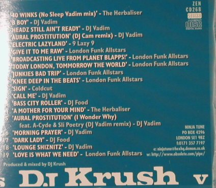 DJ Krush / Coldcut: Back In Base / Cold Crush Cuts, Ninja Tune(ZEN CD 26), UK Digi,  - 2CD - 95224 - 15,00 Euro