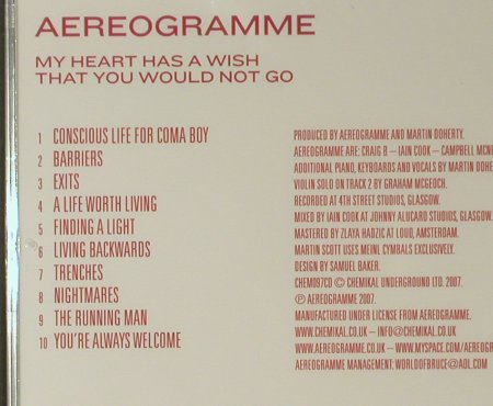 Aereogramme: My Heart Has a Wish That.., FS-New, Chemikal Underground(CHEM097cd), , 2007 - CD - 96338 - 10,00 Euro
