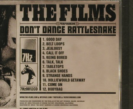 Films, The: Don't Dance Rattlesnake, FS-New, 7Hz Recordings(0012cd), ,  - CD - 96367 - 11,50 Euro