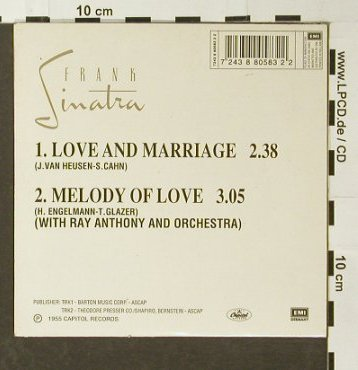 Sinatra,Frank: Love & Marriage/Melodie of Love, Capitol(), NL,Digi, 1955 - CD5inch - 96493 - 4,00 Euro