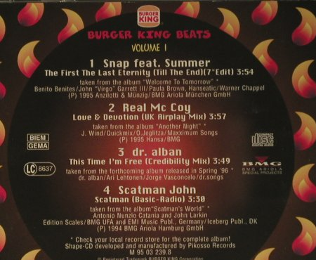 V.A.Burger King Beats: Vol.1 - 4 Tr.(Snap..Scatman John), BMG(), EC, 1994 - Shape - 98487 - 4,00 Euro