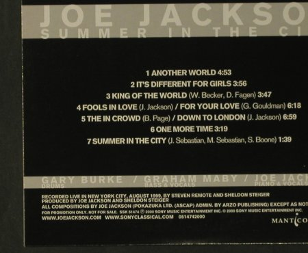 Jackson,Joe/Maby/Burge: Summer in the City,7Tr., Digi, Sony(), Promo, 2000 - CD - 99215 - 5,00 Euro
