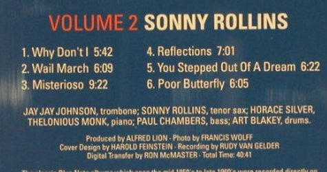 Rollins,Sonny: Volume Two, Blue Note Time Live(TL 646/4/2), , 1987 - CD - 82449 - 9,00 Euro