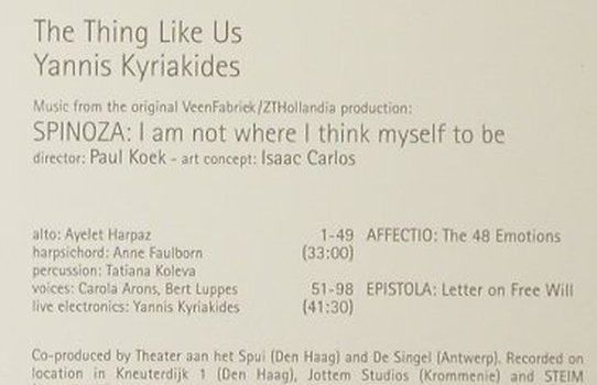 Yannis Kyriakides: Spinoza, Digi, Unsounds(09), NL, 2006 - CD - 82458 - 11,50 Euro