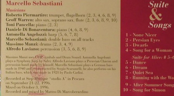 Sebastiani,Marcello: Suite & Songs, Splash(), I, 1996 - CD - 82480 - 10,00 Euro