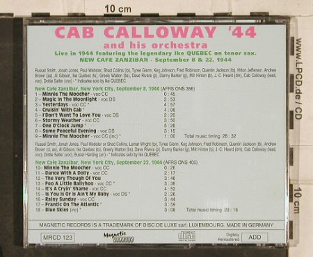 Calloway,Cab and his Orch.: 44, live f.Ike Quebec, Magnetic(MRcd123), D,  - CD - 83016 - 5,00 Euro