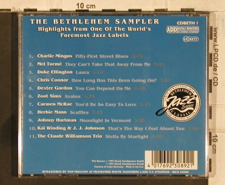 V.A.Bethlehem Sampler: Charlie Mingus..Claude WilliamsTrio, Charly(cdBETH1), EU, 1997 - CD - 83432 - 4,00 Euro