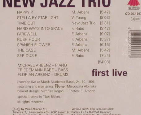 New Jazz Trio: First Live, FS-New, Pastels(CD 20.1667), D, 1995 - CD - 83770 - 12,50 Euro