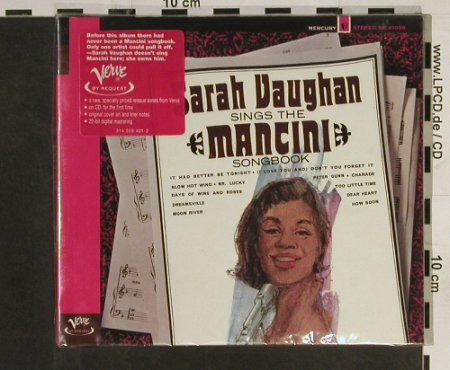 Vaughan,Sarah: Sings The Mancini Songbook'65,Digi, Verve(558 401-2), FS New, 1998 - CD - 93200 - 11,50 Euro
