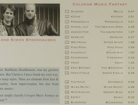 Stockhausen,Markus & Simon: Cologne Music Fantasy, Largo(5133), D, 1996 - CD - 94890 - 10,00 Euro