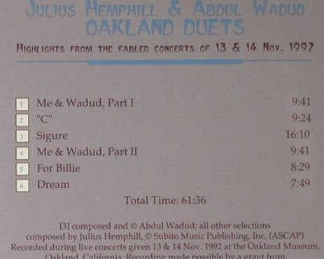 Hemphill,Julius & Abdul Wadud: Oakland Duets, Music & Arts Programs(CD-791), US, 1993 - CD - 94992 - 12,50 Euro