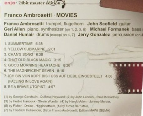 Ambrosetti,Franco: Movies(86), Digi,24 bit, FS-New, Enja(ENJ-2119 2), D, 2007 - CD - 95896 - 10,00 Euro