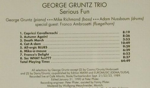Gruntz Trio,George: Serious Fun(90), Enja(6038-2), A, 2002 - CD - 97371 - 5,00 Euro
