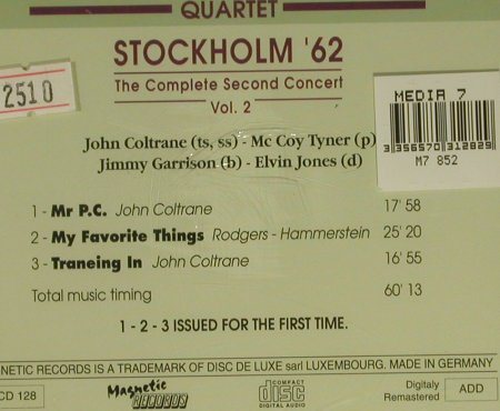Coltrane Quartet,John: Stockholm´62,2nd Conc.Vol.2,FS-New, Magnetic(MRCD128), D,  - CD - 97393 - 5,00 Euro