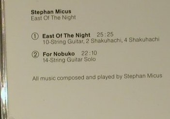 Micus,Stephan: East Of THe Night, ECM(), D, 1985 - CD - 97717 - 7,50 Euro