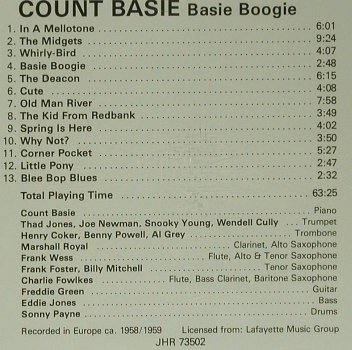 Basie,Count: Basie Boogie, A Jazz Hour with(JHR 73502), EEC, 1989 - CD - 98983 - 5,00 Euro