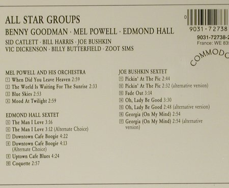 Goodman,Benny/Mel Powel/Edmond Hall: All Star Groups, Commodore(9031-72738-2), D, 1991 - CD - 99021 - 7,50 Euro