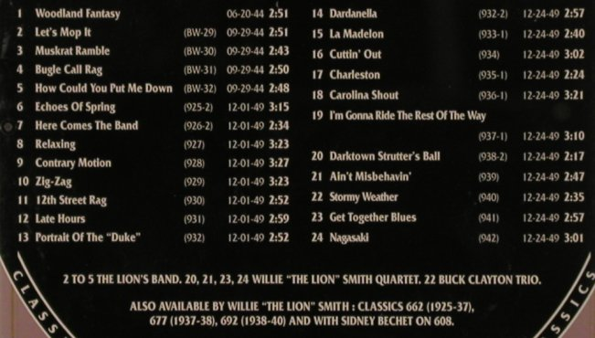 "Smith,Willie""The Lion"": 1944-1949, Classics(), F, 2002 - CD - 84280 - 6,00 Euro"