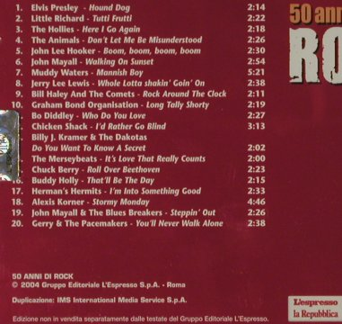V.A.Rock'n'Roll,Beat & Blues 2: Elvis...Gerry & the Pacemakers, Le'espressoLa Repubblica(50Rock02), I, 20 Tr., 2004 - CD - 81545 - 5,00 Euro
