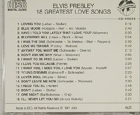 Presley,Elvis: 18 Greatest Love Songs, World Star(WSC 99025), , 87 - CD - 90206 - 10,00 Euro