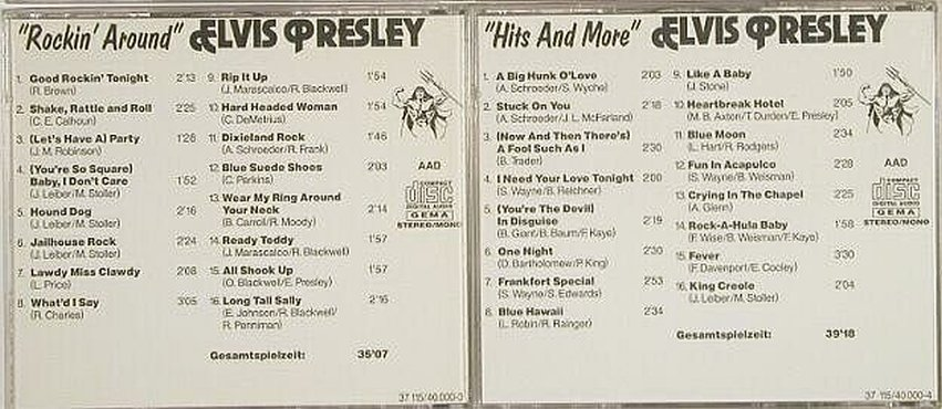 Presley,Elvis: Same , 4CD no Box,Vol.1-4, 37115(40.000-1..4), D,  - 4CD - 90258 - 10,00 Euro