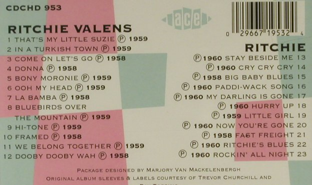 Valens,Richie: Same/Richie, FS-New, ACE(), UK, 1990 - CD - 94746 - 11,50 Euro