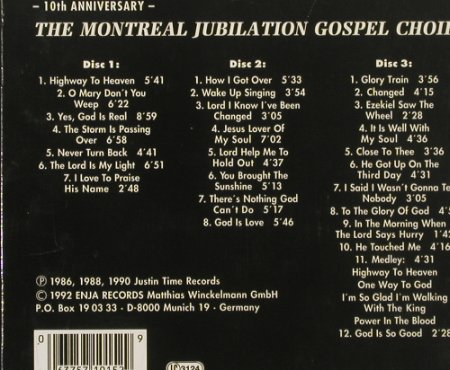 Montreal Jubilation Gospel Choir: 10th Anniversary, Enja(), D, 1992 - 3CD - 90971 - 10,00 Euro